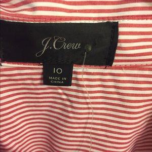 J. Crew Dresses - NWT J CREW RED AND WHITE STRIPE SHIRT DRESS